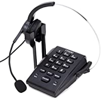 Dialpad with Headset, Coodio Corded Phone [Call Center] Telephone with Headset and Recording Cable and Tone Dial Key Pad / Redial - C666