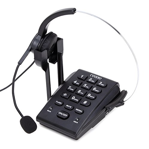 Dialpad with Headset, Coodio Corded Phone [Call Center] Telephone with Headset and Recording Cable and Tone Dial Key Pad / Redial - C666 ()
