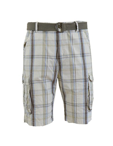 (Galaxy by Harvic Men's Plaid Belted Cargo Shorts)