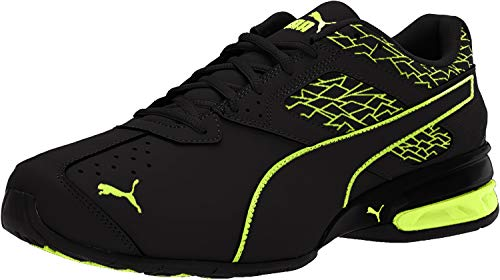 PUMA Men's Tazon 6 Fracture FM Sneaker, Black-Safety Yellow, 10.5 M US