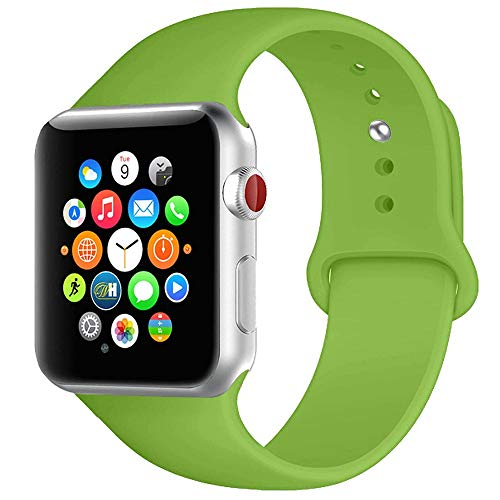 BOTOMALL Compatible with Iwatch Band 38mm 40mm 42mm 44mm Classic Silicone Sport Replacement Strap Bracelet for Iwatch All Models Series 4 Series 3 Series 2 1 (Green,38/40mm S/M)
