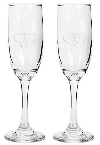 Champagne Flutes - Personalized Glass Wedding Champagne Flutes, Engraved Toasting Glasses with Hearts, 2PACK -