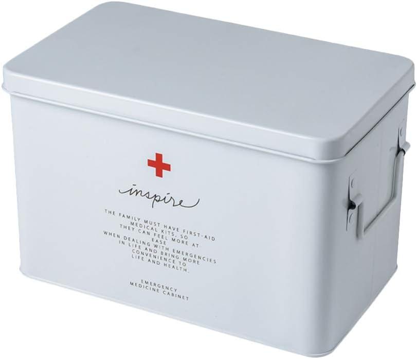 TOPBATHY Empty First Aid Kit Portable Handheld Family Medicine Chest Storage Box Household Drug Holder Case Medicine Cabinet Emergency Supplies (White)