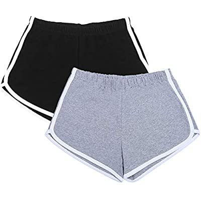 URATOT 2 Pack Cotton Sport Shorts Yoga Dance Short Pants Summer Athletic Shorts at Women's Clothing store