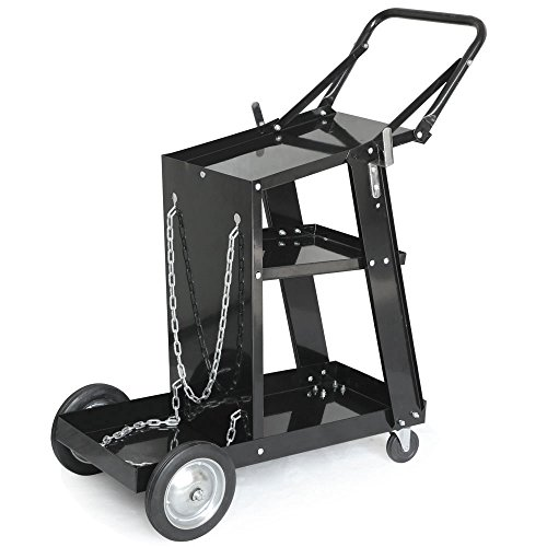 Z ZTDM Welding Welder Cart MIG TIG ARC Universal Equipment Trolley Plasma Cutter Tank Tool Storage with Silent Wheels,Removable,Portable-Black
