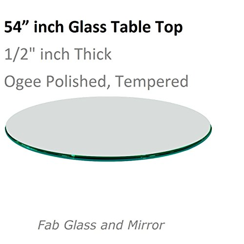 Fab Glass and Mirror Round Glass Table Top, 54 Inch, Clear (Round Top 54 Table Glass)