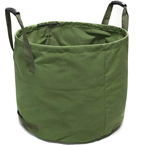 GearTaker Bulk Bags Canvas Garden Waste Bags Reusable and Collapsible Lawn Leaf Container 33 Gallons Super Sack with Handles (Army - Pop Up Bag Garden