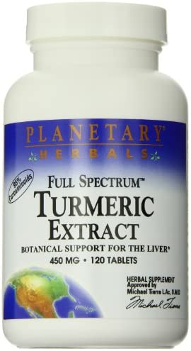 Planetary Herbals Full Spectrum Turmeric Extract Tablets, 450 mg, 120 Count