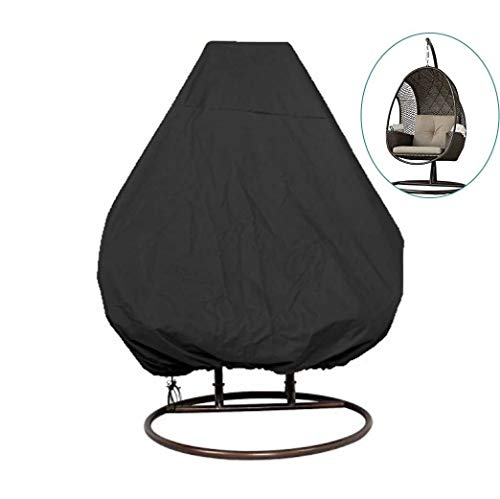 skyfiree Patio Hanging Chair Cover 91X80 inches Large Double Wicker Egg Chair Cover Waterproof Garden Outdoor Swing Chair Pod Chair Swingasan Cover Black (Hanging Wicker Chair Offers Egg)