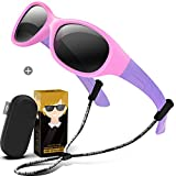 RIVBOS Rubber Kids Polarized Sunglasses With Strap Gift Case Glasses Shades for Boys Girls Baby and Children Age 3-10 RBK003(Round Pink new)