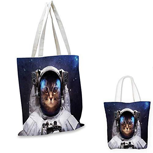 - Space Cat shopping bag storage pouch Milkyway Galaxy Space Traveller Cat in Suit with Stars Backdrop Image small tote shopping bag Navy Blue and White. 15