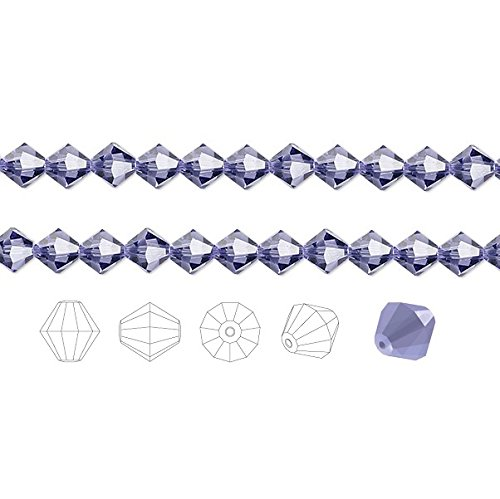 Preciosa Czech Crystal Beads Tanzanite Faceted Bicone 4mm Package of 48
