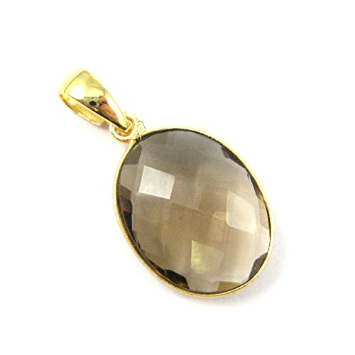 Bezel Gem Pendant with Bail - Smokey Quartz- 22K Gold plated Vermeil Oval Faceted Gemstone Pendant-28mm ()