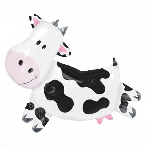"XL 28"" Cow Super Shape Mylar Foil Balloon Farm Animal Birthd"