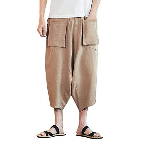Benficial Mens Casual Baggy Cotton Linen Pocket Lounge Harem Pants Beach Long Cargo Shorts Fashion Loose Pants Khaki