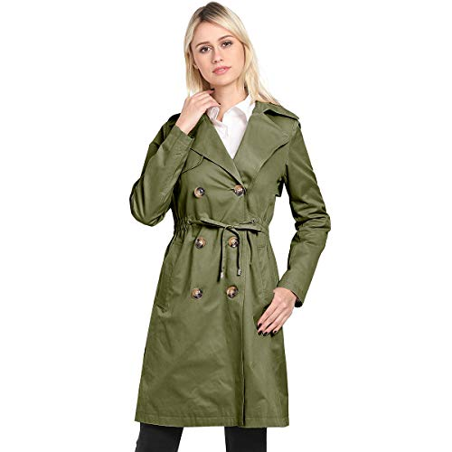 KENGURU COVE Women's Double Breasted Mid-Length Trench Coat Classic Overcoat (Navy, Small)