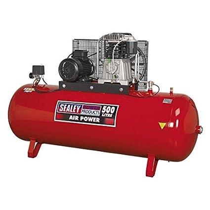 Sealey SAC65010B 500 litros 10 1010 hp 3 ph 2-etapa con cilindros fundido correa