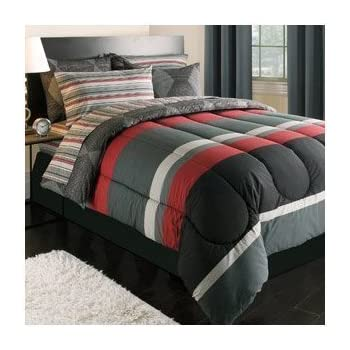 Amazon Com Boy Red Gray Black Stripe Dorm College Twin Xl