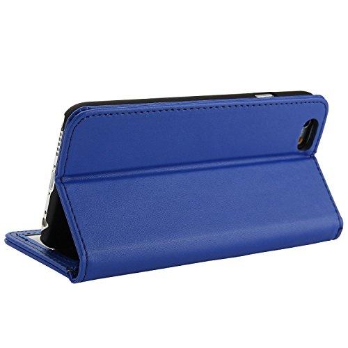 iPhone 6S Hülle, EnGive Ledertasche Schutzhülle Case Tasche mit Standfunktion und Karte Halter (iPhone 6s, blau)