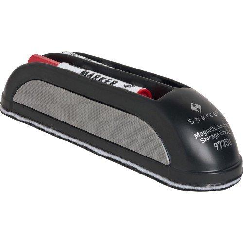 (Sparco 97250 Magnetic Eraser, w/Marker Storage, 2 Markers, Black)