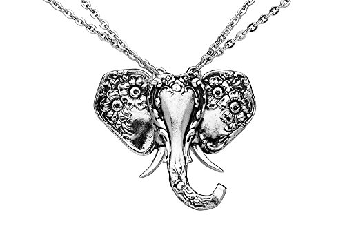 Silver Spoon Jewelry Elephant Pendant Necklace with Double Chain ()