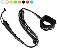 Abahub Premium Coiled SUP Leash, Stand-up Paddleboard Legrope, 10 feet 7 mm Thick, Black/Blue/Red/Green/Orange
