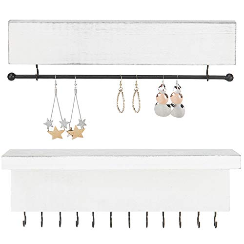 MyGift Vintage White Wood Wall-Mounted 2-Piece Jewelry Organizer Set ()