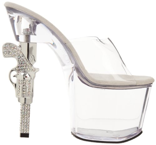 Pleaser Revolver-701 - Sandalias Mujer - Clear/Clear