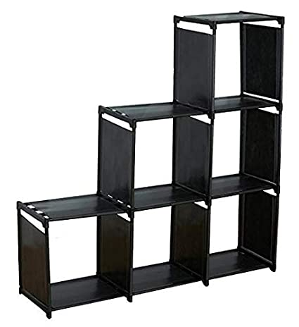 3 Tier Storage Cube Closet Organizer, 6 Cube Organizer Cabinet, Black