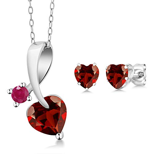 Gem Stone King 2.54 Ct Heart Shape Red Garnet 925 Sterling Silver Pendant Earrings Set