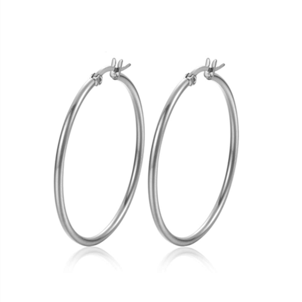 Rounded Hoops Earrings Stainless Steel 2mm High Polished for Women Girls Gipsy earring 12mm-70mm Diameter
