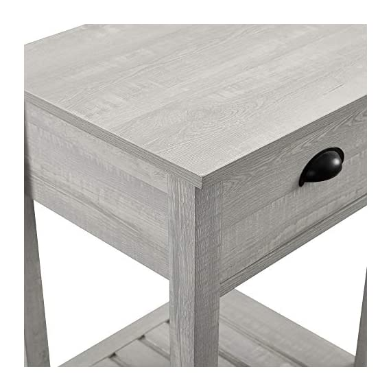 Walker Edison Furniture Company Farmhouse Square Side Accent Set Living Room End Table with Storage Door Nightstand Bedroom, 18 Inch, Stone Grey - 1 drawer farmhouse style nightstand Painted metal half circle handle Open and closed storage - nightstands, bedroom-furniture, bedroom - 411tWi3krvL. SS570  -