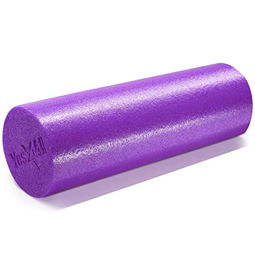 Yes4All USA Foam Roller/High Density Foam Roller - Best for Back, IT Bands and Hamstrings - Exercise Foam Roller 18 inch (Purple) - Made in USA
