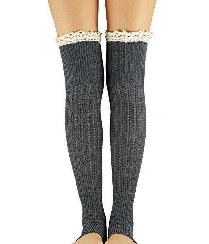 Passionate Adventure Warm Comfort Boot Socks Womens Knitted Crochet Leg Warmers B Dark Grey (How To Wear Thigh High Boots)