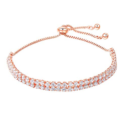 Double Row Crystal Cubic Zirconia Tennis Bracelet Adjustable Drawstring Chain Bracelet