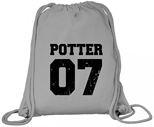ShirtStreet Fanartikel Fan Kult Film Trikot Bio Baumwoll Turnbeutel Rucksack Gym Bag Potter 07 Heather Grey 8Etm6TQka