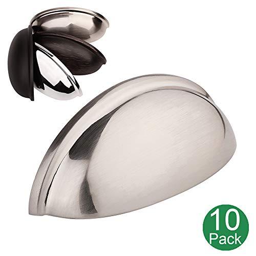 Koofizo Bin Cup Drawer Pull | Brushed Nickel Cabinet Handle, 76mm/3Inch Screw Spacing, Pack of 10