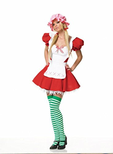 Plus Size Country Girl Costumes (Leg Avenue Womens Country Girl Strawberry Apron Outfit Fancy Dress Sexy Costume, S (4-6))