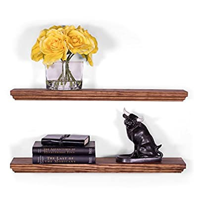 "DAKODA LOVE Wood Floating Shelves - 5.25"" Deep with Routed Edge - USA Handmade - Set of 2 - Shelf Size 24"" inch - Bourbon Stain and Clear Coat Finish - TRUE FLOATING SHELVES with a rustic beat-up appearance with hand wiped midnight color stain and clear coat finish. Sits flush against wall with 100% countersunk hidden brackets (includes all mounting hardware). Shelves measure: 24L x 5.25D x 1.38H (in inches) HANDCRAFTED with furniture grade, dry kilned pine wood. We source, cut, plane, joint, route, and sand our wood shelves in-house, with our own hands, to ensure the utmost consistency in aesthetics and durability. VERSATILE AND FUNCTIONAL, it's a great hanging shelf for your bedroom, bathroom, entryway, or exhibit family photos gallery style in a long hallway, or use in the kitchen to hold spices and jars. - wall-shelves, living-room-furniture, living-room - 411tXI7Q OL. SS400  -"
