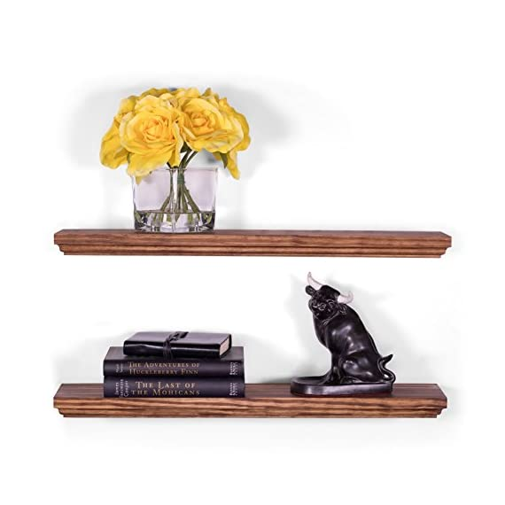 """DAKODA LOVE 5.25"""" Deep Routed Edge Floating Shelves, USA Handmade, Clear Coat Finish, 100% Countersunk Hidden Floating Shelf Brackets, Beautiful Grain Pine Wood Wall Decor (Set of 2) (24"""", Bourbon) - True floating shelves with routed edges. Sits flush against wall with 100% countersunk hidden brackets (includes all mounting hardware) Handcrafted with furniture grade dry kilned pine wood Hand wiped stain and clear coat finish - wall-shelves, living-room-furniture, living-room - 411tXI7Q OL. SS570  -"""