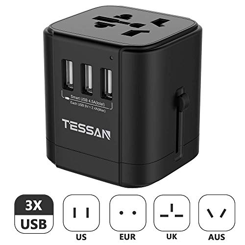 Universal Travel Adapter, TESSAN International Power Plug Adapter with 3 USB Charging Ports, All-in-one European Adapter, Worldwide AC Outlet Wall Charger US To Europe UK AU Asia Over 150 Countries