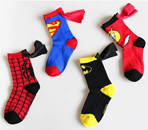 Astra Gourmet Cartoon Comic Superhero Socks - The Flash Design Children Cotton Socks Caped Crew Socks for Unisex Boys Girls (4-6 Years Old, 4 Pairs)]()