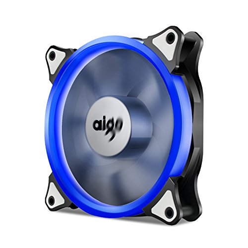 (AigoDIY, Halo LED Ring Fan 120mm 12cm Sleeve Bearing 120mm Blue LED Silent Fan for Computer Cases, CPU Coolers, and Radiators (Blue))