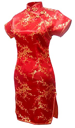 7Fairy Women's Sexy Red Floral Mini Chinese Evening Dress Cheongsam Size 12 US