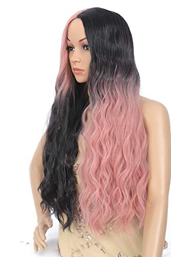 Amchoice Ombre Black and Pink Cosplay Wig for Women Long Curly Wavy Hair Wig Heat Resistant Synthetic Middle Part Wig for Daily Party Halloween 26 Inch