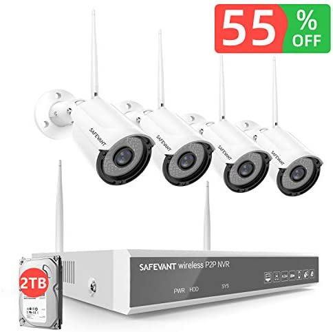 2TB Hard Drive Pre-Install 1080P Full HD Security Camera System Wireless,SAFEVANT CCTV Kits 4PCS 2MP Indoor Outdoor Home IP Cameras with Night Vision Motion Detection