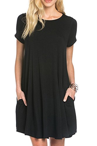 TINYHI Women's Swing Loose Short Sleeve Tshirt Fit Comfy Casual Flowy Tunic Dress, Large, S_black_pocket