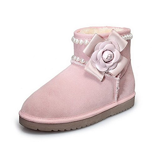 AmoonyFashion Womens Round-Toe Closed-Toe Low-Heels Boots With Slipping Sole and Bowknot Pink tT8Q9zdW