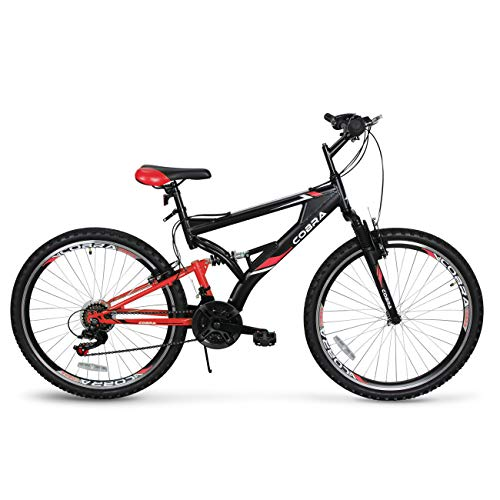 "Akonza Cobra 26"" Mountain Bicycle Road Full Suspension 21-Speed Compatible Outdoor MTB Bike, Red/Black"