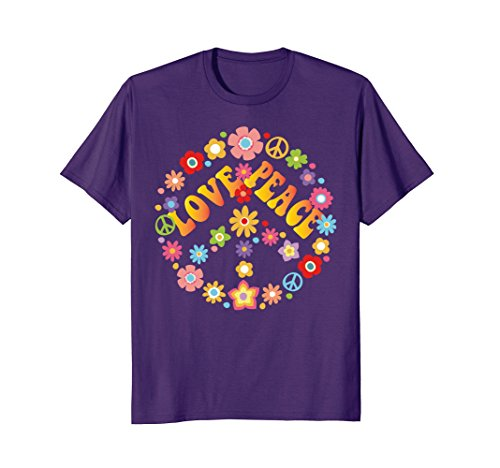 Groovy Love Peace Sign (Mens PEACE SIGN LOVE T Shirt 60s 70s Tie Die Hippie Costume Shirt Large Purple)